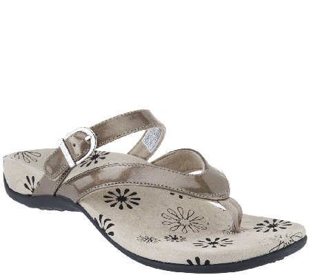 Vionic Orthotic Thong Sandals w/ Adj. Strap - Rosemary
