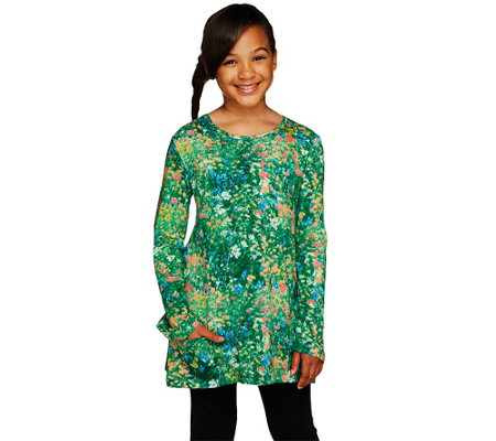 LOGO Littles by Lori Goldstein Long Sleeve Printed Top with Pockets