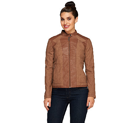 Susan Graver Faux Leather Zip Front Fitted Jacket