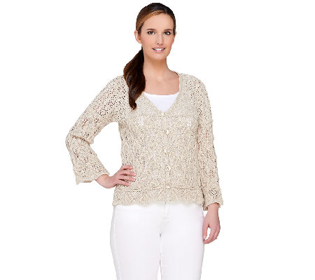 Aran Craft Cotton & Linen 3/4 Sleeve Open Knit Shrug