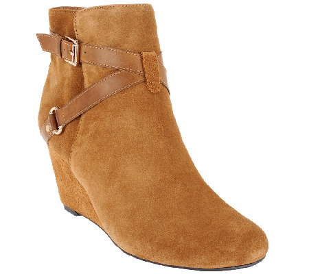 """As Is"" Isaac Mizrahi Live! Suede Ankle Boots with Wedge Heel"