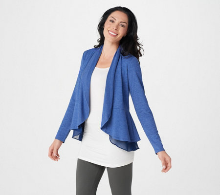 LOGO Lounge by Lori Goldstein French Terry Peplum Cardigan w/ Chiffon Trim