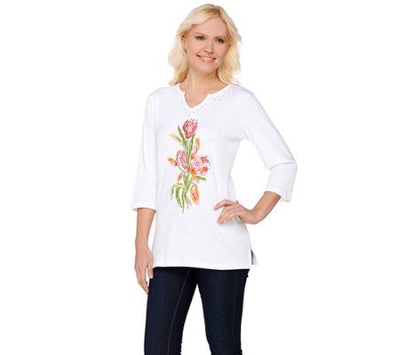 Quacker Factory Floral Embroidered Split V-Neck T-Shirt