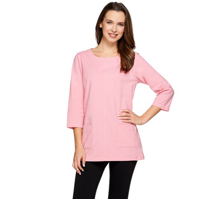 Denim & Co. Active Jersey Scoop Neck 3/4 Sleeve Tunic