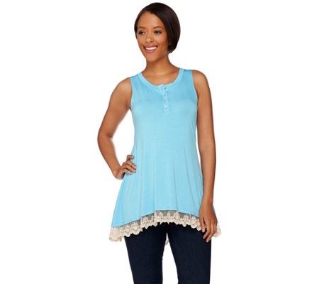LOGO by Lori Goldstein Knit Henley Tank with Lace Trim