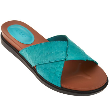 LOGO by Lori Goldstein Leather Crossover Strap Sandals