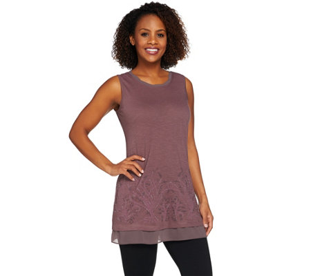 """As Is"" LOGO by Lori Goldstein Embellished Slub Knit Tank with Chiffon"