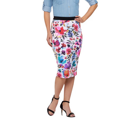 """As Is"" G.I.L.I. Petite Printed Floral Pencil Skirt"