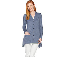 LOGO Lounge by Lori Goldstein French Terry Snap Front Knit Cardigan - A285372