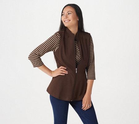 Denim & Co  Active Striped 3/4 Sleeve Top w/ Zip Front Peplum Vest Set —  QVC com