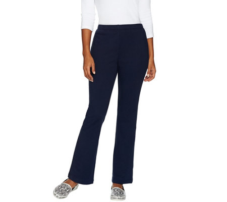"""As Is"" Susan Graver Weekend French Terry Pull-On Bootcut Pants"