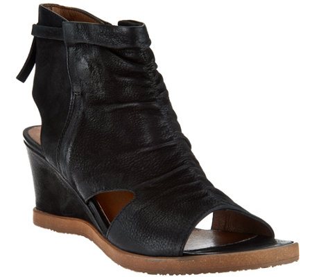 """As Is"" Miz Mooz Leather Open Toe Wedge Booties - Becca"