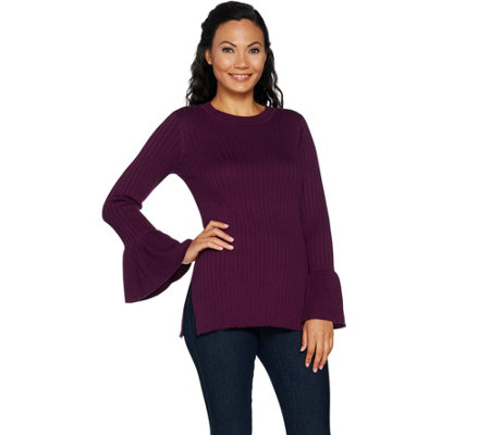 """As Is"" Du Jour Crew Neck Rib Knit Sweater with Bell Sleeves"