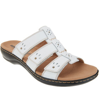 adf9bc83cf2d Clarks Leather Triple Strap Slides - Leisa Spring - A305072
