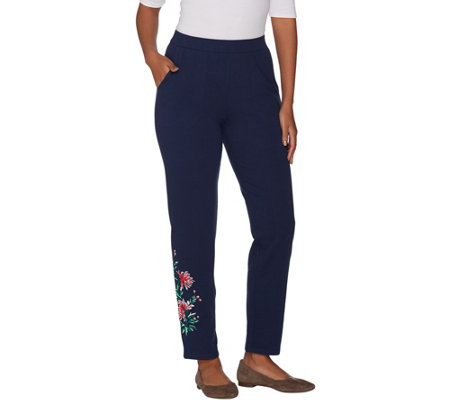 Denim & Co. French Terry Floral Embroidered Ankle Pants
