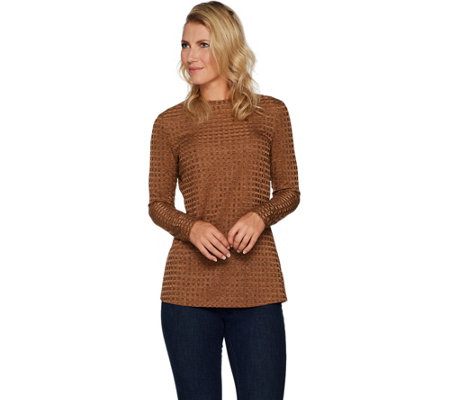 """As Is"" Dennis Basso Textured Rib Knit Crew Neck Top"