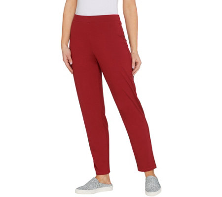 LOGO by Lori Goldstein Pull-On Straight Leg Knit Pants