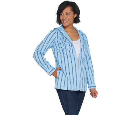 66ce262937 Denim & Co. Stretch Twill Zip-Front Striped Jacket with Hood — QVC.com