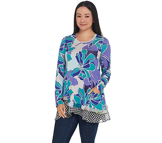 LOGO by Lori Goldstein Mixed Print Knit Top with Asymmetric Hem