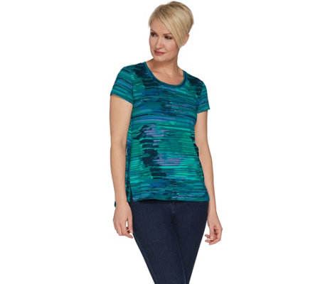 """As Is"" H by Halston Printed Scoop Neck Knit Top with Hi-Low Hem"