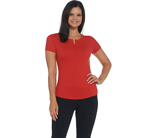 Susan Lucci Collection Short Sleeve Top with Half Zip