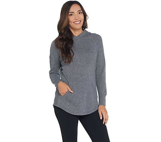 Isaac Mizrahi Live! 2-Ply Cashmere Pullover Hoodie with Pocket