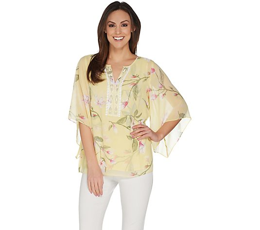 """As Is"" Belle by Kim Gravel Magnolia Print Blouse"