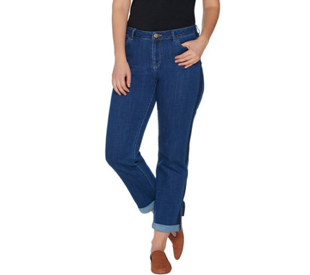 """As Is"" LOGO by Lori Goldstein Boyfriend Ankle Jeans with Tuxedo Stripe"