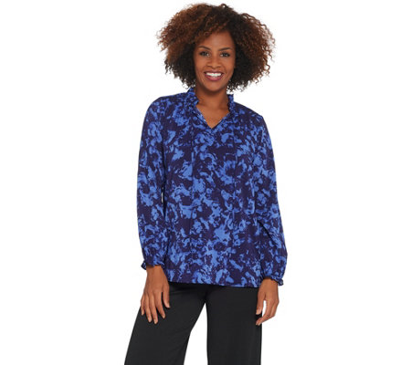 Bob Mackie Abstract Splash Print Woven Blouse