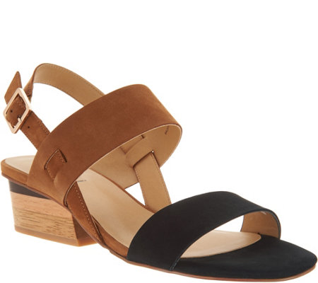 """As Is"" Vaneli Leather Color Blocked Heeled Sandals-Caryna"
