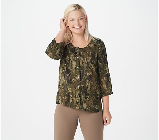Linea by Louis Dell'Olio Camo Print Button Front Blouse