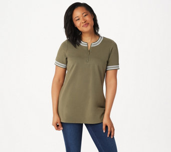 Denim & Co. Active French Terry Tunic with Rib Trim - A351572