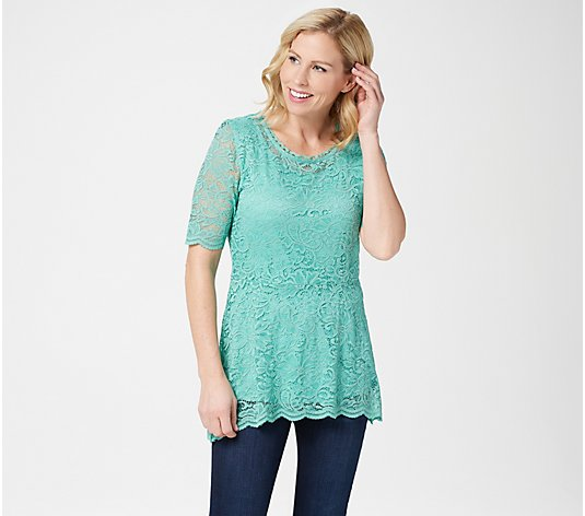 Isaac Mizrahi Live! Elbow-Sleeve Stretch Lace Peplum Knit Top