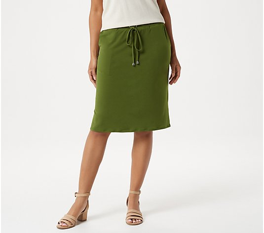 Susan Graver Liquid Knit Pull-On Skirt with Drawstring