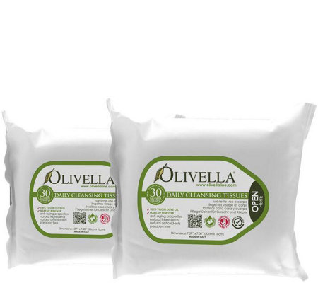 Olivella 30-Pack Daily Cleansing Tissues Set of2