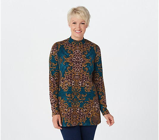 Susan Graver Printed Sweater Knit Mock-Neck Tunic
