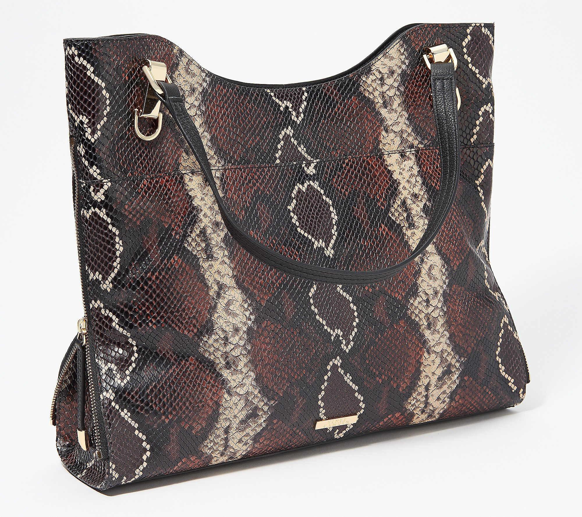 Vince Camuto Solid Or Snake Embossed Leather Tote Emely Qvc Com