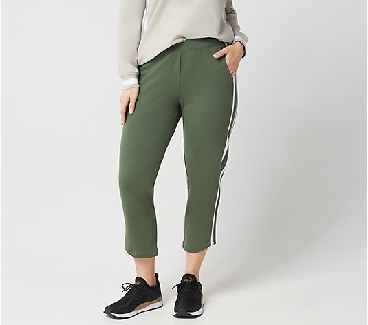 """As Is"" Denim & Co. Active Crop Pants with Striped Rib Side Panel"