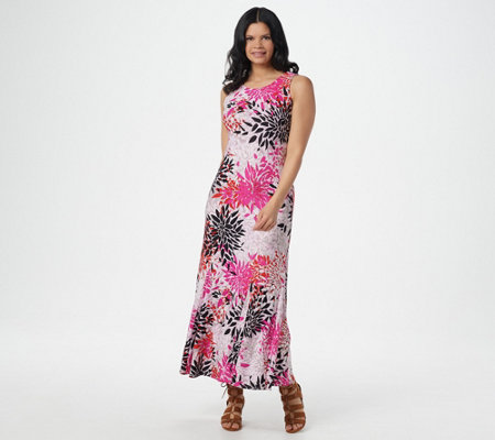 """As Is"" Attitudes by Renee Reg. Como Jersey Printed Maxi Dress"