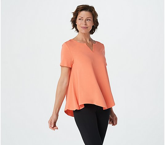 AnyBody Cozy Knit Short Sleeve Swing Top