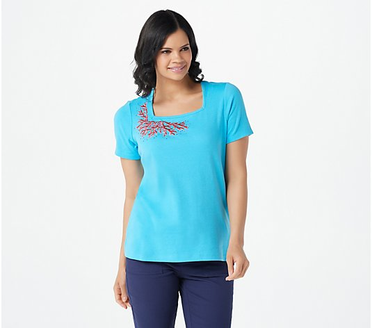 Quacker Factory Coral Square Neck Short Sleeve Top