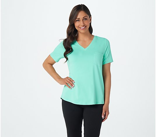 Attitudes by Renee Radiant Knit V-Neck T-Shirt with Pocket