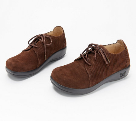 """As Is"" Alegria Leather Lace-Up Corduroy Shoes- Pyper"