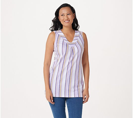 Denim & Co. Petite Interlock Sleeveless V-Neck TUnic