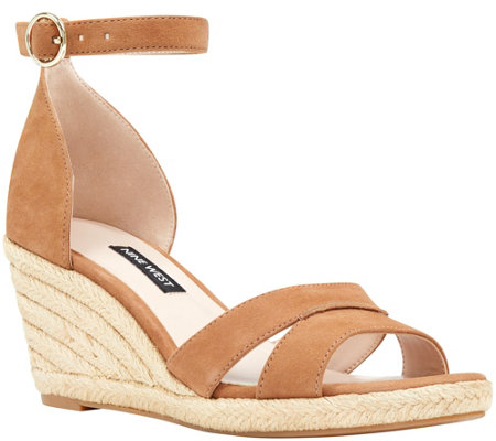 Nine West Leather Wedge Sandals - Jeranna