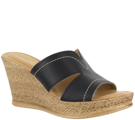 Tuscany by Easy Street Slip-On Wedge Sandals -Marsala