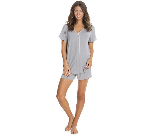 Barefoot Dreams Luxe Milk Jersey Short Sleeve Piped PJ Set