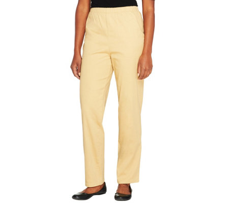 Denim /& Co Original Waist Stretch Petite Pants Side Pockets White PL NEW A43881