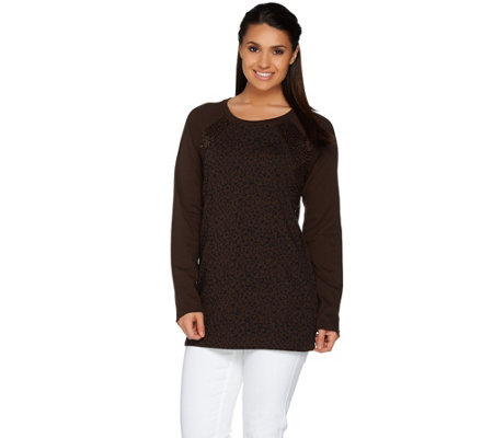 Quacker Factory Animal Print Sequin Raglan Long Sleeve Tunic