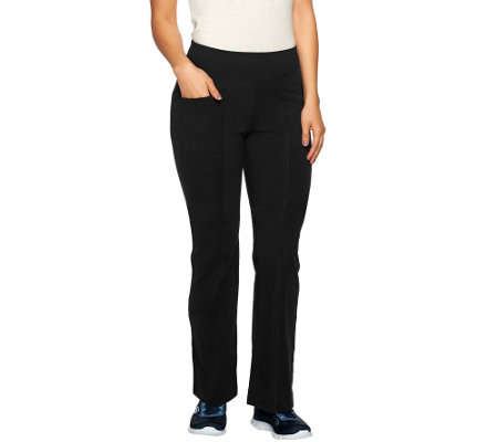 Denim & Co. Active Duo Stretch Lightly Bootcut Pant w/ Pockets